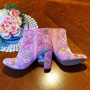 KENZY 🌸 DUSTY PINK EMBROIDERED VELVET BOOTS 10 🌸